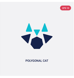 two color polygonal cat icon from geometry vector image