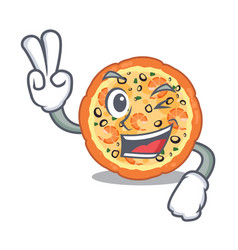 Two finger seafood pizza isolated with in cartoon vector