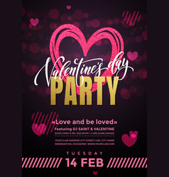 valentine party hearts poster vector image