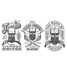 Vintage monochrome trucker emblems collection vector
