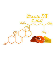 vitamin d3 with food label and icon chemical vector image