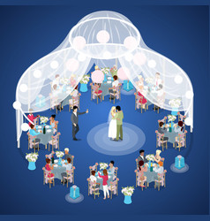 Wedding ceremony just married couple isometric vector