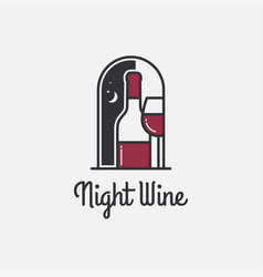 wine logo with wine bottle and glass on white vector image