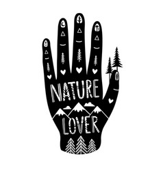 with black human hand and lettering ornate text vector image