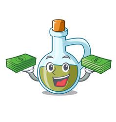 With money mascot cartoon fresh organic olive oil vector