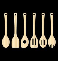 Wooden kitchen tools vector