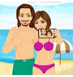 young couple taking selfie photo together vector image