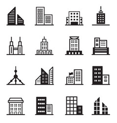 building tower architectural icons vector image