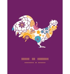 colorful oriental flowers rooster vector image