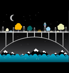 night landscape with bridge over water owl bird vector image vector image