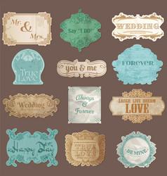 Vintage Paper Wedding Frame collection vector image