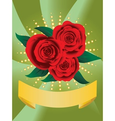 Card with red roses vector image vector image