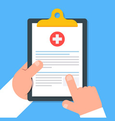 clipboard in hand doctor doctor consider notes in vector image