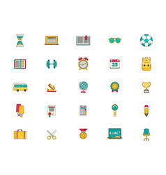 education icon set flat vector image vector image