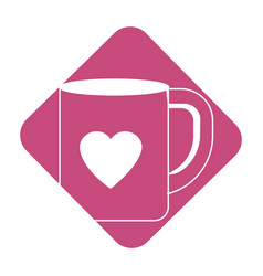 Label cup to drink with heart design vector