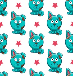 Seamless pattern with cartoon dog vector image