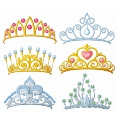 Set of princess crowns Tiara isolated on white vector image vector image