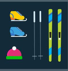skiing winter season equipment vector image