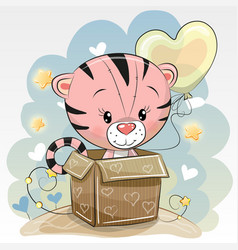 birthday card with a cute tiger vector image
