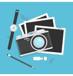 Camera with photos in flat style vector image vector image