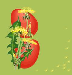 easter egg and dandelion on green background vector image vector image