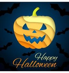 Happy Halloween card Paper pumpkin on dark vector image