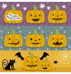 Many pumpkin prepared for Halloween vector image vector image