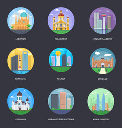 Pack of world cities 14 vector