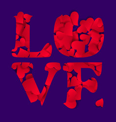 typographic love word abstract happy valentines vector image