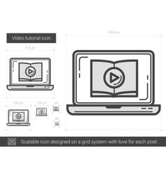Video tutorial line icon vector