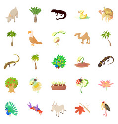 Animals and plants icons set cartoon style vector