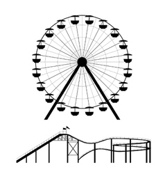 Ferris wheel and roller coaster silhouette vector image