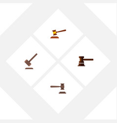 flat icon court set of hammer legal government vector image vector image