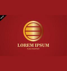 gold round stripe logo vector image vector image