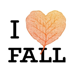 I love Fall - autumn sale poster with leaf heart vector image