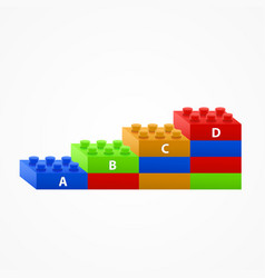 plastic building blocks stairs vector image vector image