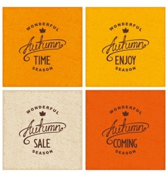 Set of vintage autumn designs vector image