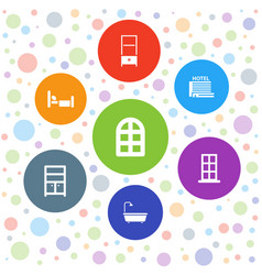 7 room icons vector