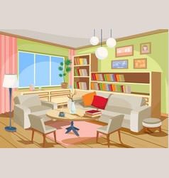 A cozy cartoon interior of vector
