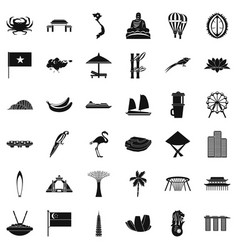 Asian country icons set simple style vector