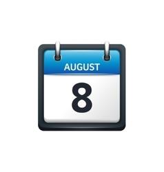 August 8 Calendar icon flat vector
