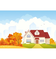 Autumn cottage vector image