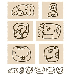 Aztec style comic icon set vector