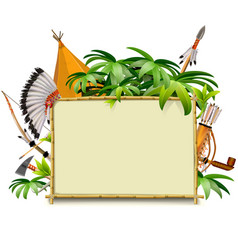 bamboo frame with indian accessories vector image