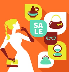 Beautiful woman silhouette with shopping icons vector image