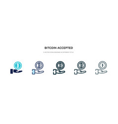 Bitcoin accepted icon in different style two vector