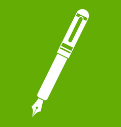 black fountain pen icon green vector image