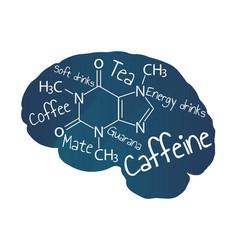 Blue human brain with white inscription caffeine vector