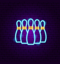 bowling skittles neon sign vector image