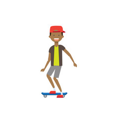 Boy kid wearing cap skating on skateboard vector